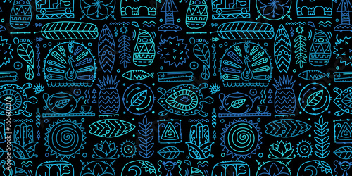 Obraz na plátně Sri Lanka art travel, tribal seamless pattern for your design