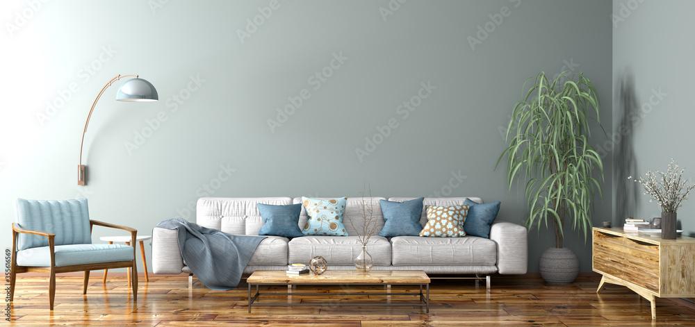 Fototapeta Interior design of modern apartment, living room 3d rendering