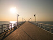 Sunrise over pier in Gdynia, Poland.