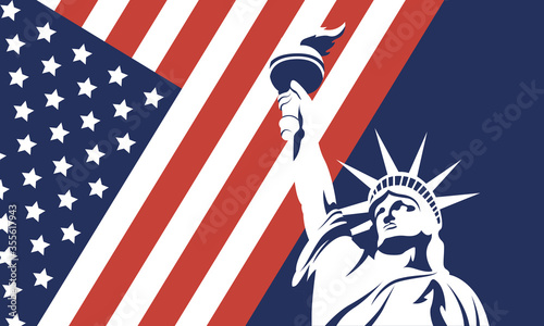 Valokuvatapetti Usa liberty statue with flag of 4th july vector design