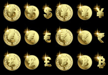Gold Currency Signs Isolated O...