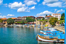Boats Mooring On Sea In Nessebar, Bulgaria