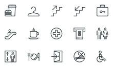 Public Navigation Vector Flat Line Icons Set. Cloakroom, Elevator, Exit, Taxi, ATM, Cafe. Editable Stroke. 48x48 Pixel Perfect.
