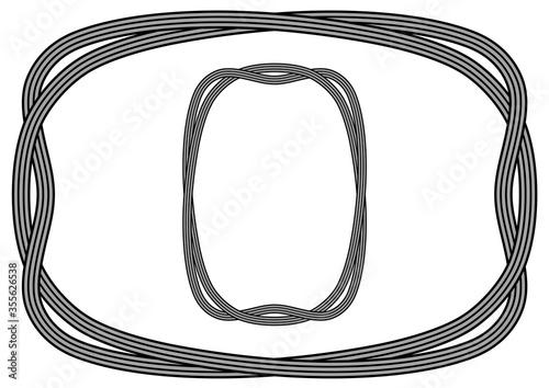 Fotografie, Tablou 柔らかなストライプリボンの飾り罫(黒)