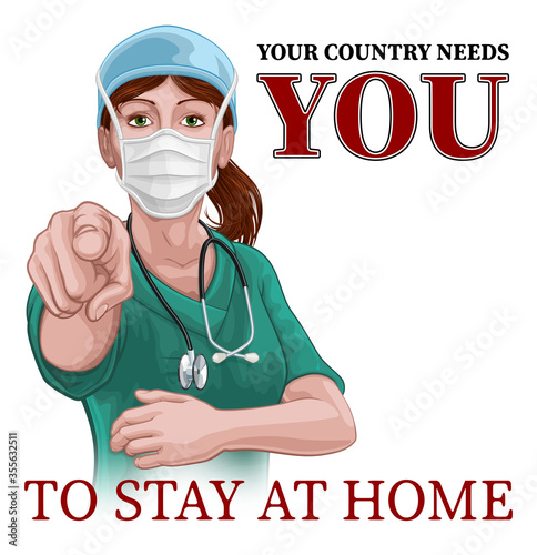 Cuadros en Lienzo A woman nurse or doctor in surgical or hospital scrubs and mask pointing in a your country needs or wants you gesture