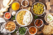 canvas print picture - assorted indian food cuisine- curry food,rice, chicken assorted