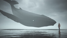 Mysterious Black Humpback Whale With White Eyes Floating Above Black Sand And Man In A Hazmat Suit Surrounded By Water 3d Illustration 3d Render