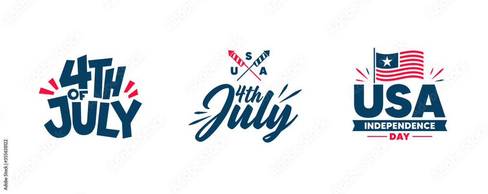 Fototapeta Independence day. Happy 4th of july banners, flyers. Red and blue colors.