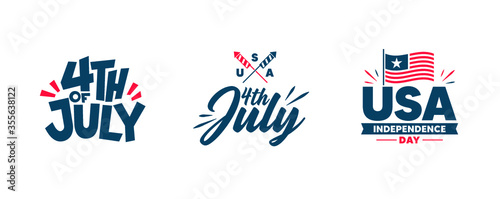 Obraz Independence day. Happy 4th of july banners, flyers. Red and blue colors. - fototapety do salonu