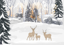 Vector Winter Landscape With Bright Sunbeams. Reindeer Family Standing In Forest Pine Trees Covered With Snow On Frosty Evening. Beautiful Winter Panorama With Snow Falling
