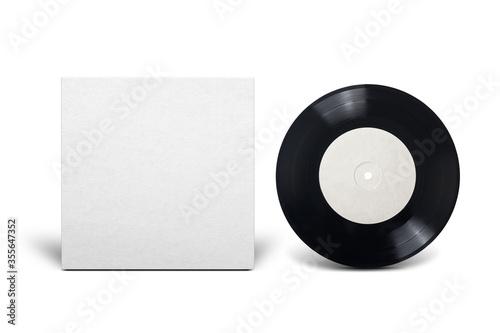Obraz Clean cardboard cover with 7-inch vinyl single record. - fototapety do salonu