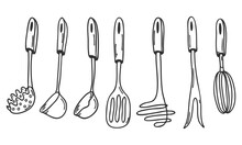 A Set Of Kitchen Tools In Doodle Style. A Collection Of Design Elements For Decorating Menu, Recipes, And Food Packaging. Hand Drawn And Isolated On White. Black-white Vector Illustration