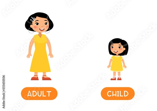 Photo Opposites, age concept, ADULT and CHILD