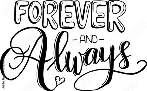 forever and always inspirational quotes and motivational typography art letterin Wallpaper Mural