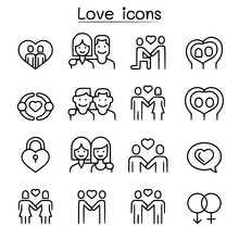 Love Icon Set In Thin Line Sty...