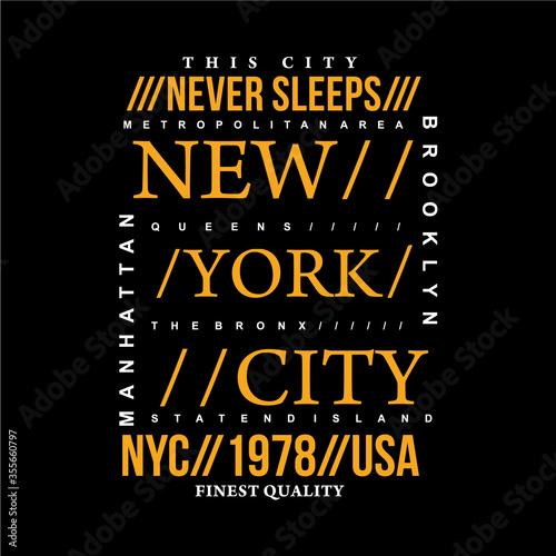 Photo new york city never sleeps text frame graphic typography vector illustration den