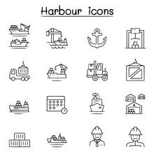 Port Icon Set In Thin Line Sty...