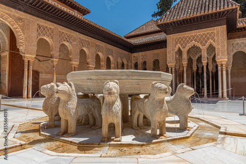 Patio de los Leones inside of the Nasrid palace of Alhambra fortress in Granada, Wallpaper Mural