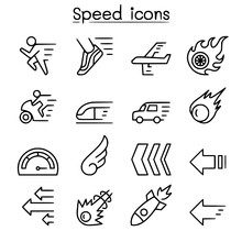 Speed Icon Set In Thin Line St...