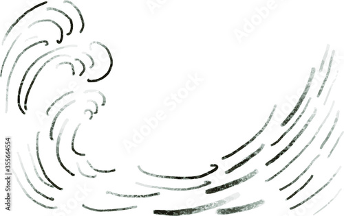 Tela wave of lines big sea wave doodle style