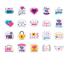 I Love You Texts Flat Style Ic...