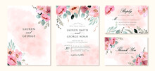 Wedding Invitation Set With Abstract And Pink Flower Watercolor Background