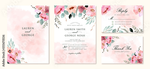 Obraz wedding invitation set with abstract and pink flower watercolor background - fototapety do salonu