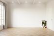 Leinwandbild Motiv Empty room mock up with white wall, light grey curtain and green cactus on wooden floor. 3d illustration.