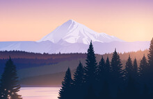 Vector Landscape With Snowy Mo...