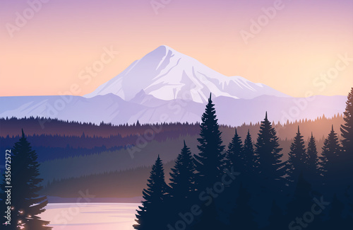 Foto Vector landscape with snowy mountains, forest and lake.