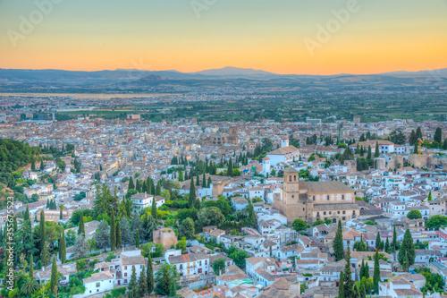 Fotografía Sunset view of El Salvador church in Granada, Spain
