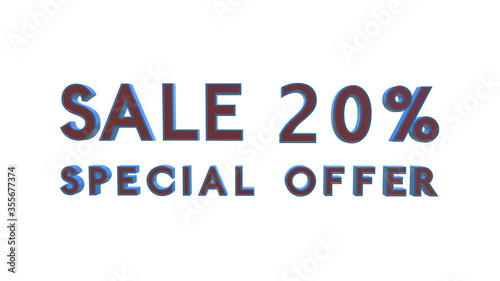 Photo Special offer sale 20 percent off 4K 3d animation rendering with Alpha Channel M