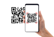 Hand Using Mobile Smart Phone Scan Qr Code. Barcode Reader, Qr Code Payment, Cashless Technology, Digital Money Concept.