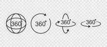 360 Degrees Line Icon. Rotatio...