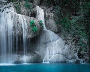 Panel Szklany Wodospad Jungle landscape with Erawan waterfall. Kanchanaburi, Thailand