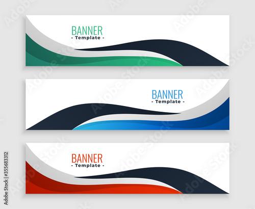 Fototapeta three wavy business banners set in modern style obraz