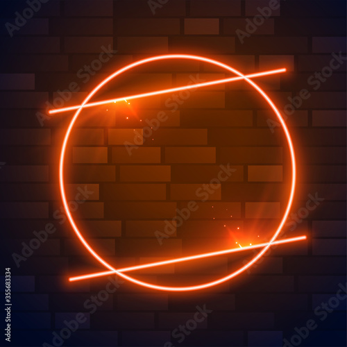 Fototapeta circle brown or orange neon frame with text space