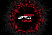 Abstract Halftone Circular Lines Red Black Pattern Background