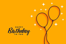 Happy Birthday Flat Style Line...