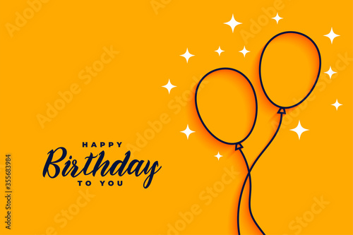 Obraz happy birthday flat style line balloons background - fototapety do salonu