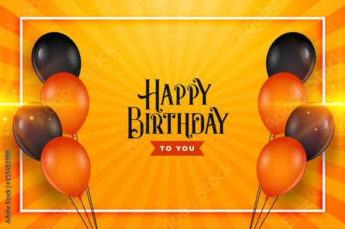 happy birthday balloons wishes card background design Wallpaper Mural