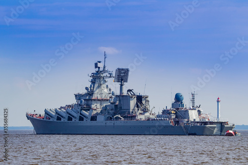 Fotografie, Obraz A warship is sailing in the sea