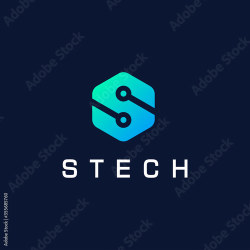 Obraz na plátně Hexagon letter S logo for technology, internet, web vector illustration