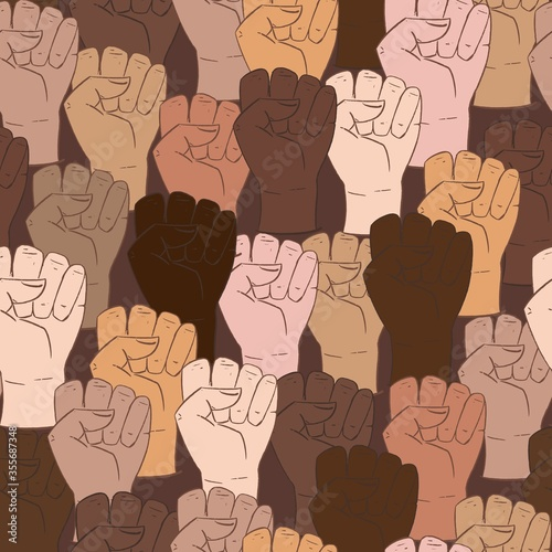 Valokuva Vector seamless pattern with different ethnicity colors human fists