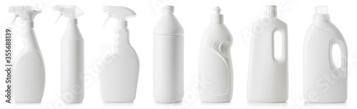 Fototapeta Set of white bottles of different cleaning procucts obraz