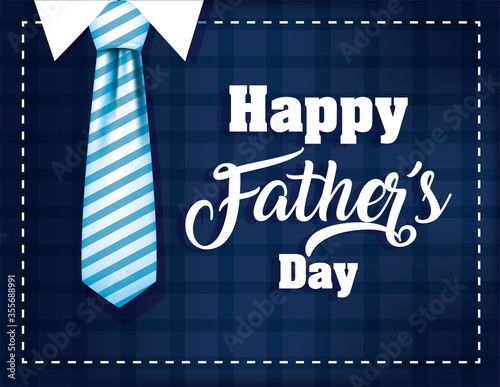 Striped necktie of fathers day vector design - 355688991