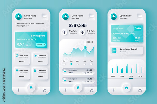 Fototapeta Finance services unique neumorphic design kit for mobile app. Online banking screen with charts and financial analytics. Finance management UI, UX template set. GUI for responsive mobile application obraz