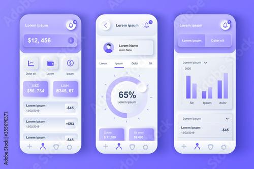 Finance services unique neumorphic design kit for mobile app Canvas Print