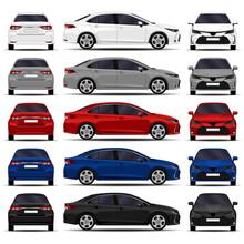 Realistic Cars Set. Sedan. Fro...
