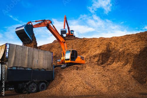 Fotografia, Obraz Backhoe standing on big pile of wood chips loading up into truck
